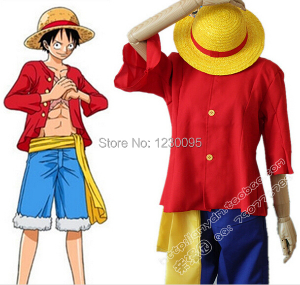 One Piece Monkey D Luffy Cosplay Costume full set include hat shoes