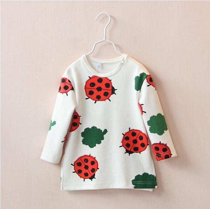 Y30653632 Retail 2015 New Autumn Baby Girl Hoodies Full Sleeve Print Ladybug Girl Sweatshirt Girl Coat Cartoon Children Clothes(China (Mainland))