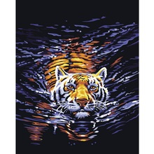 Hot DIY Oil Painting By Numbers Animals Tiger Frameless Painting On Canvas Home Decoration Home Wall Kids Room Decor 40x50cm(China (Mainland))