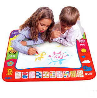 Hot Aqua Doodle Children's Drawing Toys Mat Magic Pen Educational Toy 1 Mat+ 2 Water Drawing Pen Size 80*60cm Free Shipping(China (Mainland))