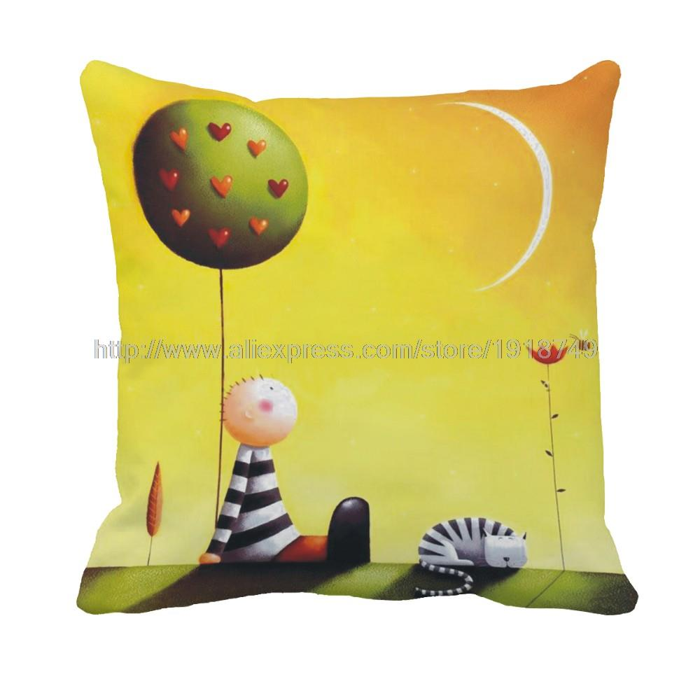 kid lie near balloon with cat printed cartoon character pillowcase green and yellow pillow cover square