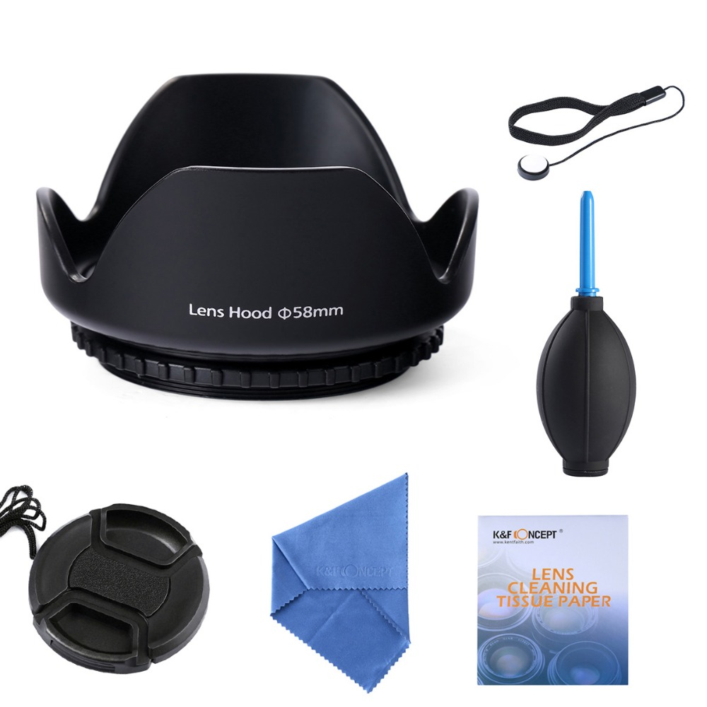 58mm Lens Hood + Lens Cap + Lens Pen Clean Kit For  450d 550d 1000d 10d 20d 30d 40d 50d all /DSLR Camera With Tracking Number<br><br>Aliexpress