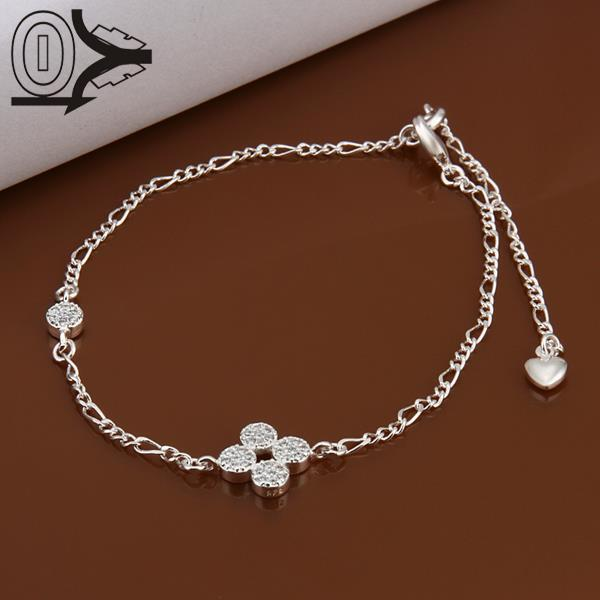 Hot Sale!!Wholesale Silver Plated Anklets,Fashion Foot Jewelry Bracelet,Cute flowers With Stone Anklets For Girl(China (Mainland))