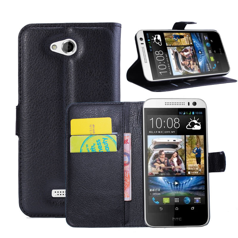 Slim Luxury Handmade PU Litchi Leather Wallet Case Carrying Folio Cover Stand Function HTC Desire 616 Dual SIM - Quella Store store