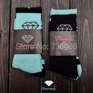 most popular Diamond thick long Socks Men women fashion brand skateboard fixed gear sport Socks hiphop street wear black navy(China (Mainland))