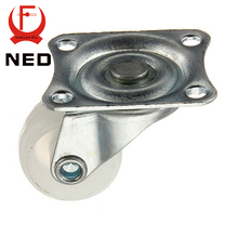 NED-7425 10Kg Universal Swivel Casters 1″ Wheels Castor White PP Nylon Dual Roller Bearing Wheel For Platform Trolley
