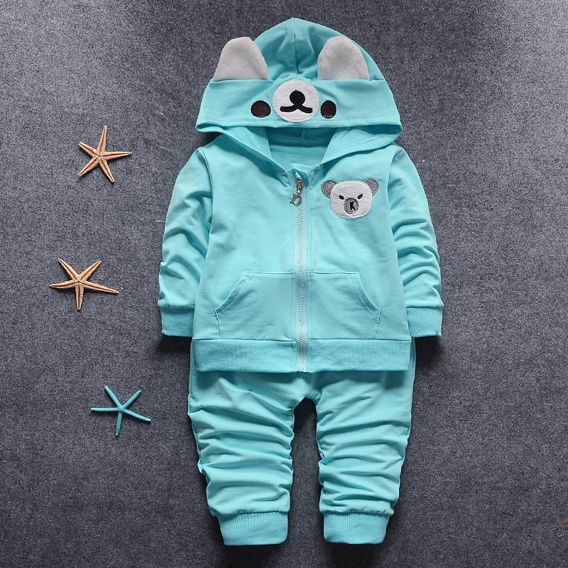 roupas de bebe Infant Clothing Sets Baby Boys Bear Hooded Coat Outerwear + Full Length Pants Kids Two Pieces Suits(China (Mainland))