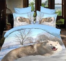 (6PCS/set) White fox wolf bedding sets 3d wolf quilt donna cover set Home Textile bedding set 3D bed linen Queen Super king size(China (Mainland))