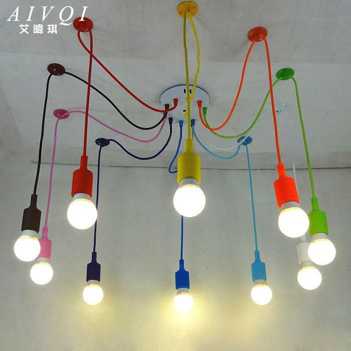 Silicone colorful pendant lights diy multi color e27 bulb holder lamps home d - Lustre multi ampoules ...