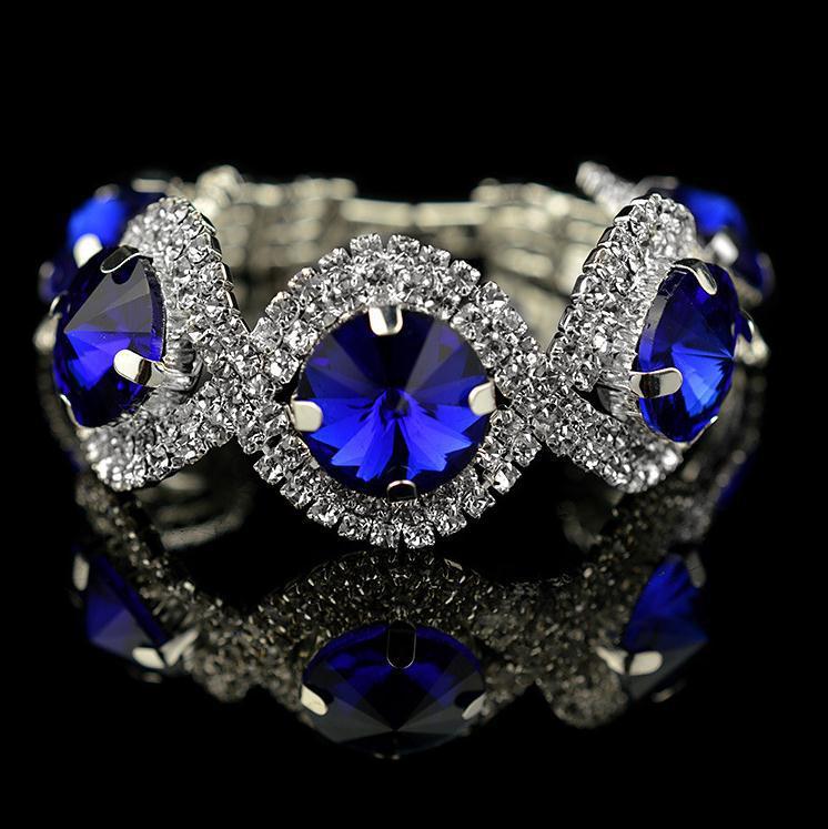 crystal bracelet 2015 valentine day gift fashion silver plated green rhinestone bracelet blue stone jewelry pulseras B037(China (Mainland))