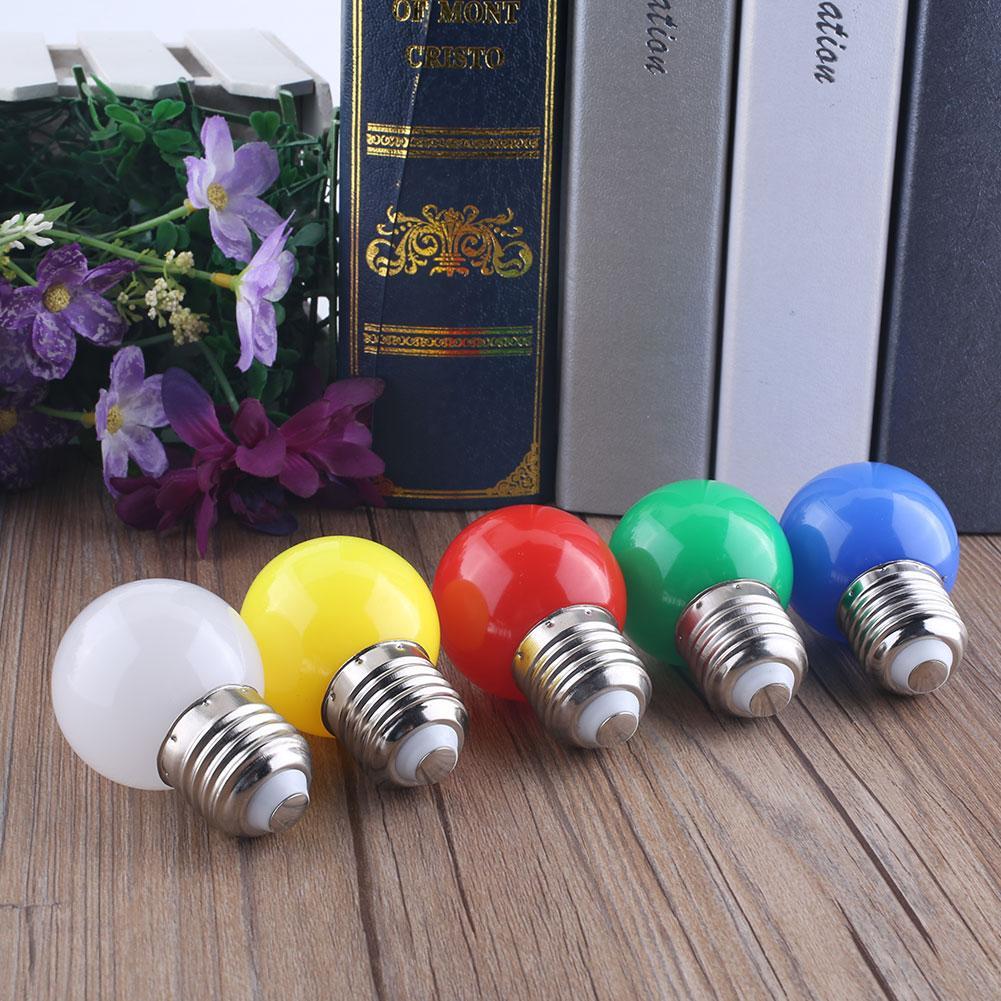 1W E27 Coloured Bulbs Round LED Golf Ball Light Screw Cap Lamp 5Colors(China (Mainland))