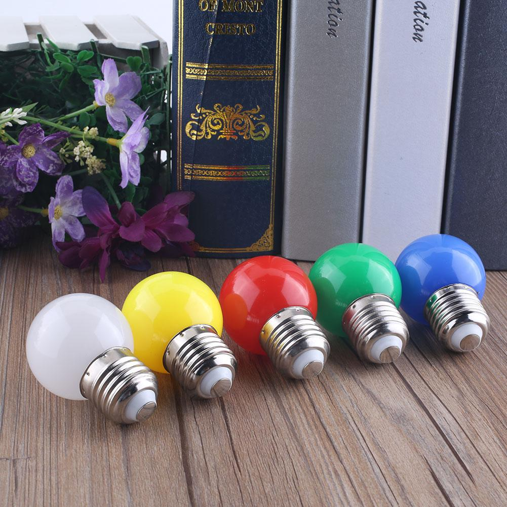 1W E27 Coloured Bulbs Round LED Golf Ball Light Screw Cap Lamp 5Colors(China (Mainland))