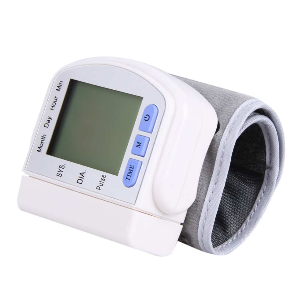 Hot LCD Digital DisplayScreen Home Automatic Wrist Blood Pressure Pulse Sphygmomanometer and Tonometer Monitor Heart Beat Meter(China (Mainland))