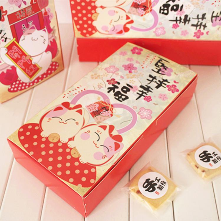 valentine cats cake box,bakery gift box,cookie macaron packing box 24x12x4.5cm(China (Mainland))