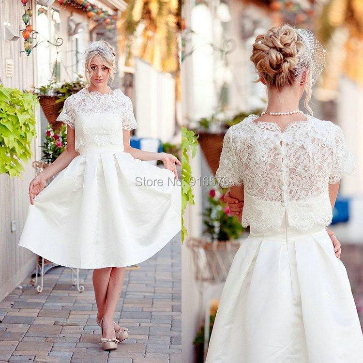 Cream lace tea length dress