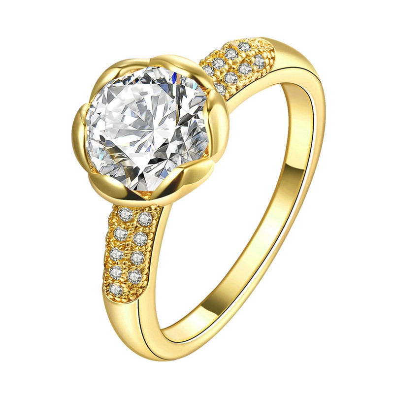 Real 24K Gold Filled Wedding Rings For Women Romantic Flower Shaped
