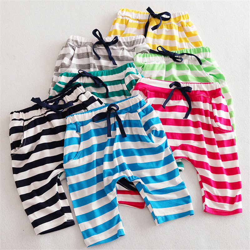 2016 Babies Stripe Baggy Harem Pants Kids Boys and Girls Summer Cotton Loose Pant Childrens Fashion Candy Color Clothing<br><br>Aliexpress