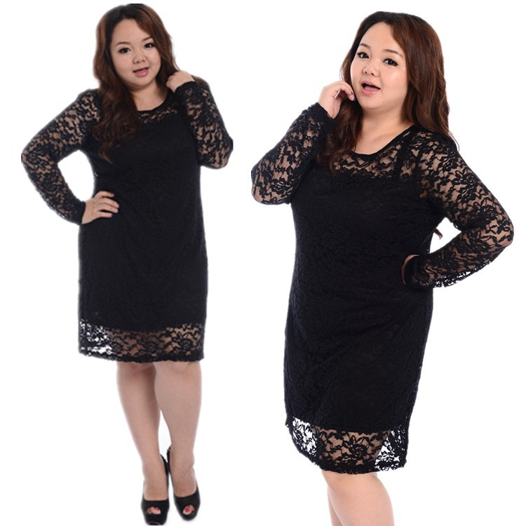 2015 New Fahion Large Size Long Sleeve Black Lace Dress,Big Size Lace Dress Women Slim Bottoming Women's Clothes 4XL(China (Mainland))