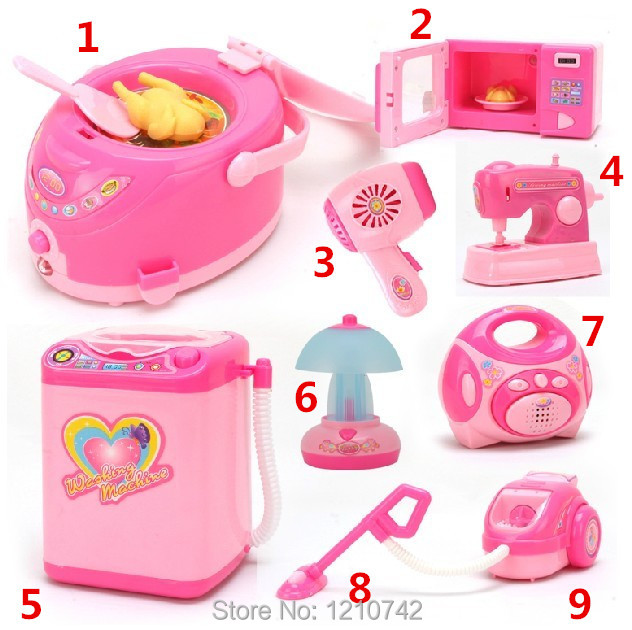 Free Shipping 6pcs/lot Battery Operated Simulation Small Appliances, Kids Pretend Play Toy, Play House Kitchen Toy(China (Mainland))