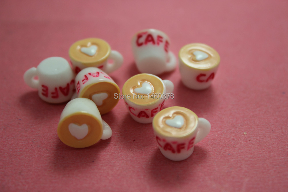 free shipping 100pcs resin simulation food for DIY Life decoration Coffee white heart Coffee cup(China (Mainland))