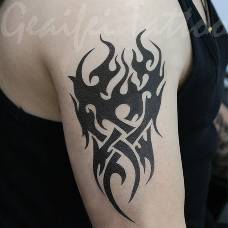 large temporary tattoo stickers waterproof men cool fire