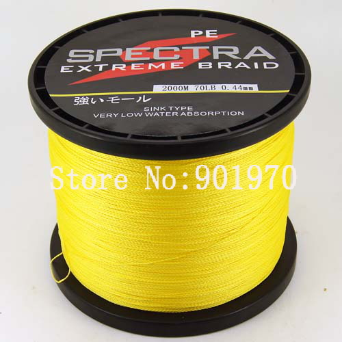 High Quality  yellow fishing line 4 strands 2000m 70lb   free shipping<br><br>Aliexpress