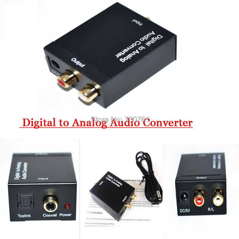 100pcs Coaxial Spdif Toslink Optical Digital to Analog L/R RCA Audio Converter Adapter Support 5.1 Channel Stereo Dolby AC3/DTS(China (Mainland))