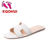 2015 Summer H Style Womens Fashion White Black Silver Shoes Flat Heel  Flip-flop Sandals Flat Womens Shoes