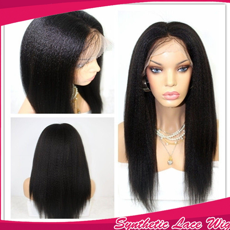 Fast Shipping Yaki Straight Synthetic Front Wig Glueless Natural Black Kinky Straight Synthetic Lace Front Wigs For black women<br><br>Aliexpress
