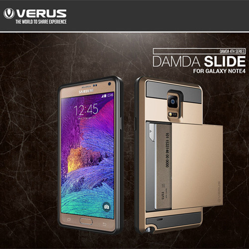 new VERUS V4 Card Slider Case with Card Storage case for samsung galaxy note 4 N9100 slide card back cover for galaxy NOTE 4(China (Mainland))