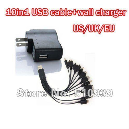 Free shipping multi charger 10 in 1 universal USB Charging Cable usb line.charger line+USB wall Charger(EU/UK/US) 1set/lot