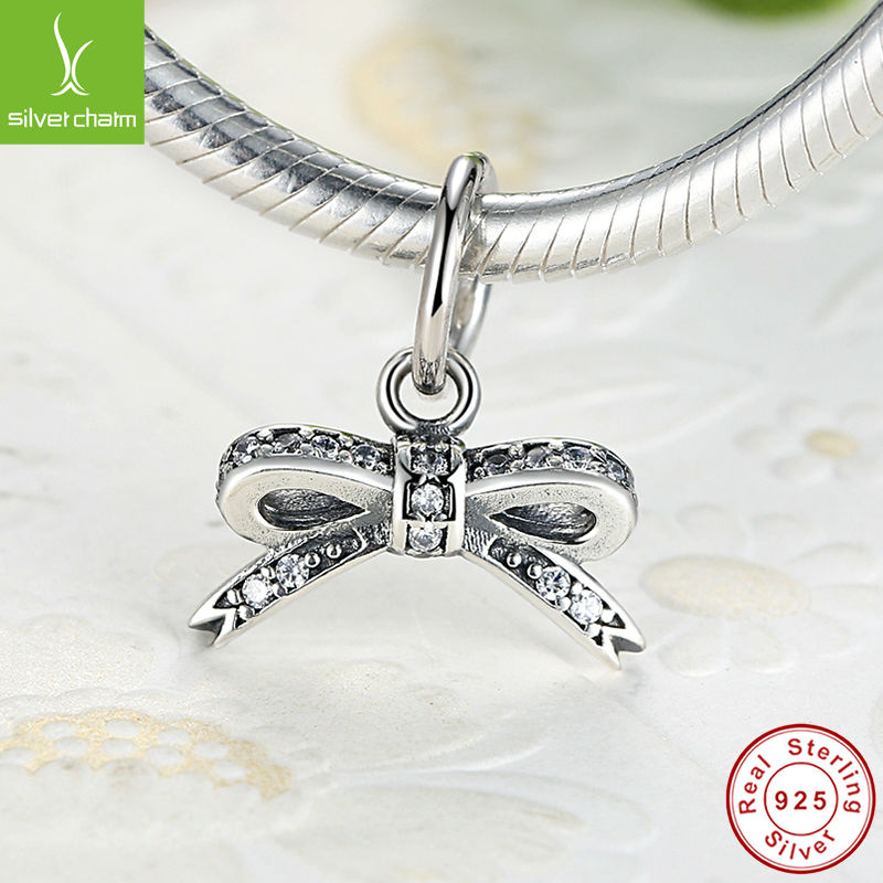 100% 925 Sterling Silver Sparkling Bow Pendant Charm Fit Original Pandora Bracelet Pendant Authentic Women Jewelry Gift(China (Mainland))
