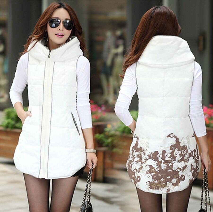 В большие размер женщины закрытый воротник жилет женское корейский выращивания осень и зима длинная вниз хлопок жилет верхняя одежда