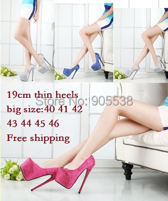 Plus:40-44 45 46 CD spring/Autumn lady red bottom Ultra high heels diamond 19cm sexy wedding women pumps fashion shoes - Drop shipping store