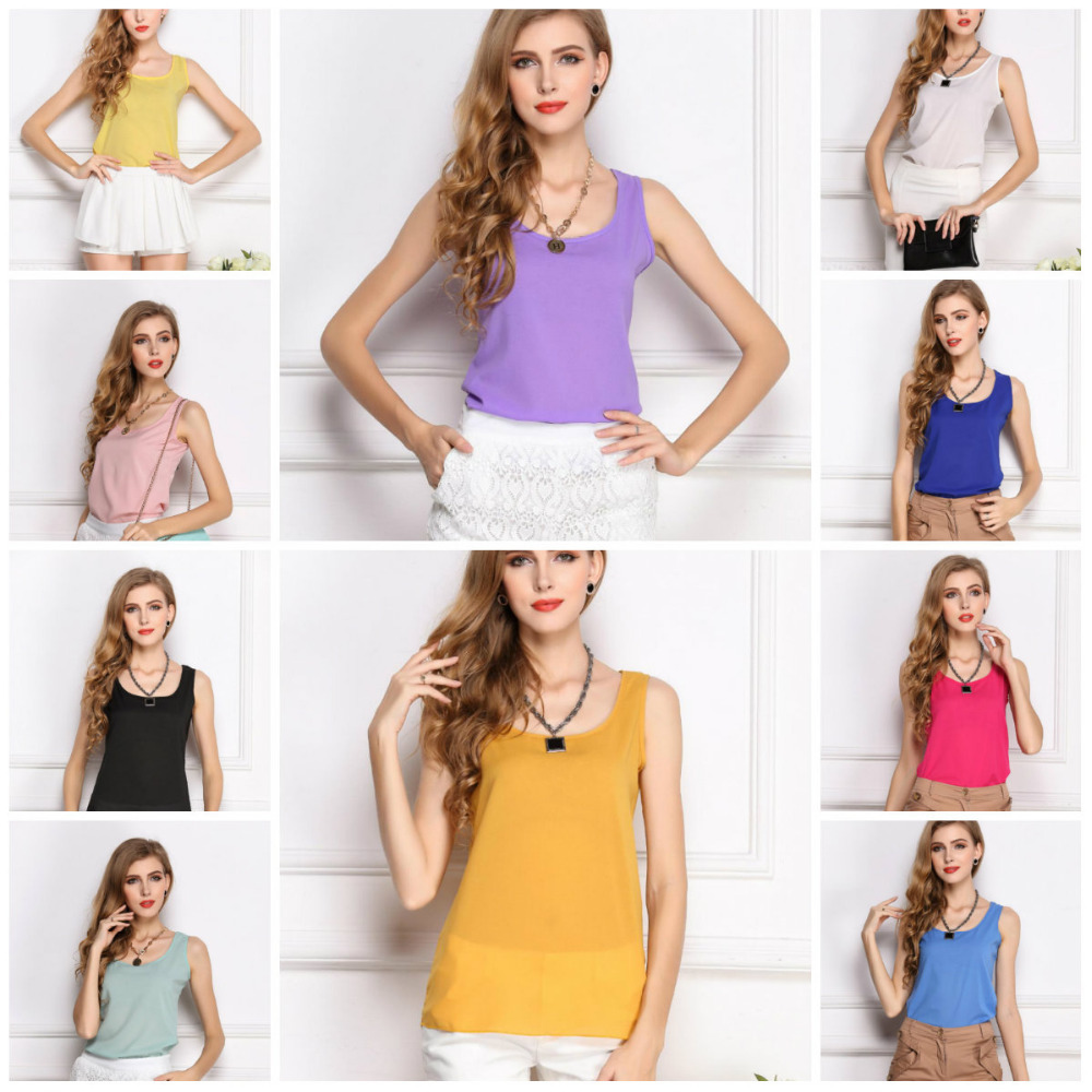 Wholesale 2015 Fashion New Summer Women Clothing Chiffon Sleeveless Solid Neon Candy Color Causal Chiffon Blouse Shirt Women Top(China (Mainland))