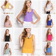 Wholesale 2015 Fashion New Summer Women Clothing Chiffon Sleeveless Solid Neon Candy Color Causal Chiffon Blouse