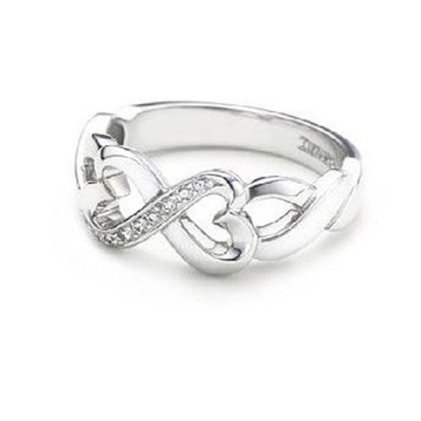 Double Heart Infinity Silver Plated Rings Fashion Jewelry Freeshipping US Size 6 7 8 9 10 SR044 - Mistery co.,ltd store