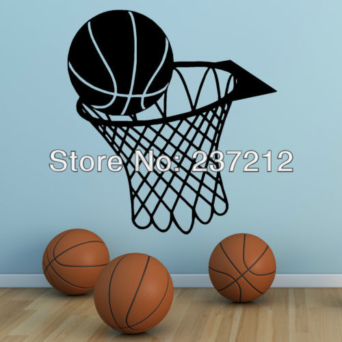 Free Shipping BASKETBALL AND NET HOOP vinyl wall art sticker SPORTS HALL ETC(China (Mainland))