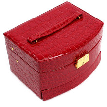3 Layers PU Leather Watch Jewelry Box Fashion Jewellery Display Storage Packaging Case Organizer Gift Boxes 6 Colors 870777(China (Mainland))