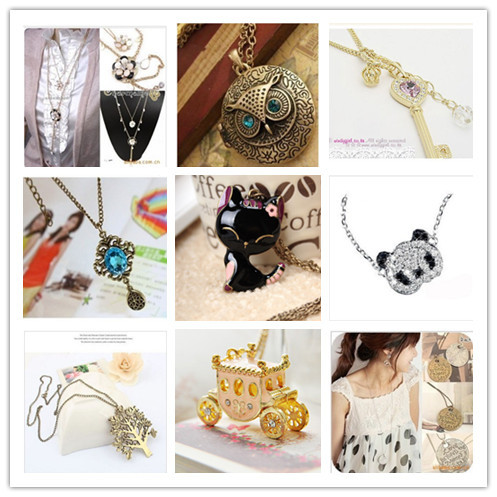 N10003 Fashion Jewelry Camellia Crown Key LOVE Word Licensing Round Owl Bird Tree Panda Cat Pumpkin Car Blue Gem Drop Necklaces(China (Mainland))