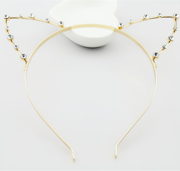 Pearl crystal Rhine stone decoration fashion party punk hair package cat ear headscarf silver gold(China (Mainland))