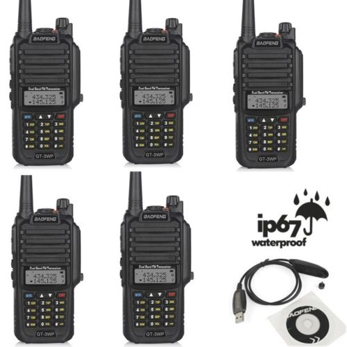 5x Baofeng GT-3WP IP67 Waterproof VHF/UHF Dual Band Transceiver Ham Two Way Radio Walkie Talkie + USB Cable + Car Charger Cable(China (Mainland))