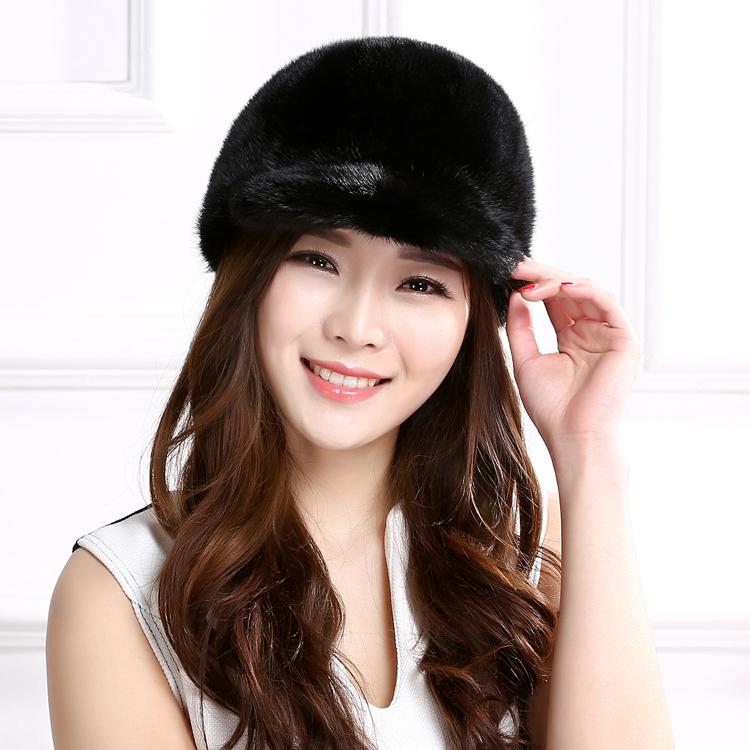 2017 Fashion Real Mink Fur Hats For Women Lady Winter Warm Russian Visors Natural Warm Genuine Fur Cap Viseira JQ6061