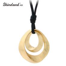 Shineland Горячие Продажа Классический Ювелирные Изделия Женщины Золото Серебро Покрытием Ручной Рисование Матовый Двойной Овальной Полые Ожерелье Bijoux(China (Mainland))