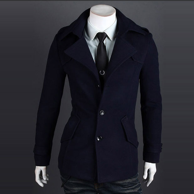 Fashion 2014 High Quality Winter Warm Trench Coat Men Single Breasted Epaulets Designer Peacoat Duffle Coat Mens Jackets Coats(China (Mainland))