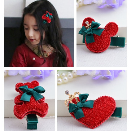 pin up red Heart Valentine's Bow Christmas hair clips baby Headband hair accessories styling tools #8Q0045 10 pcs/lot(China (Mainland))