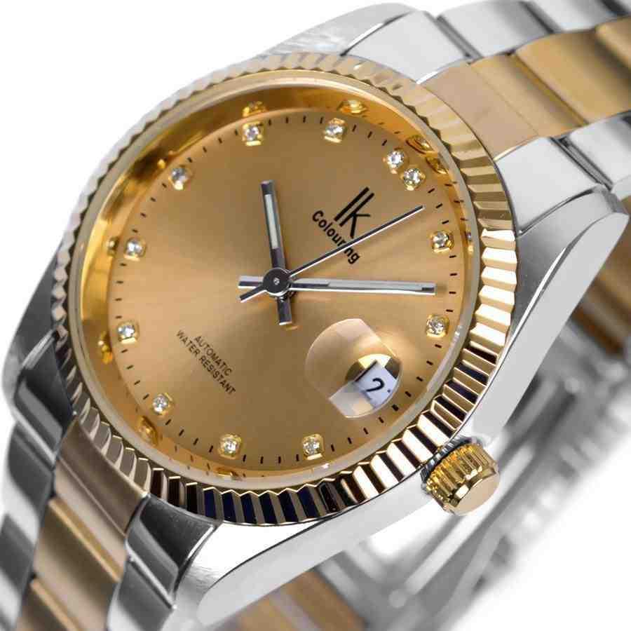 IK business golden men full steel automatic mechanical self-wind wristwatches casual gift calendar waterproof watch<br><br>Aliexpress