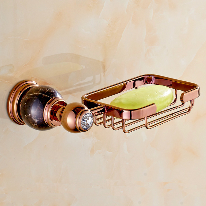 Marble soap rack rose gold copper soap net jade luxury bathroom glass pendant European soap dish(China (Mainland))