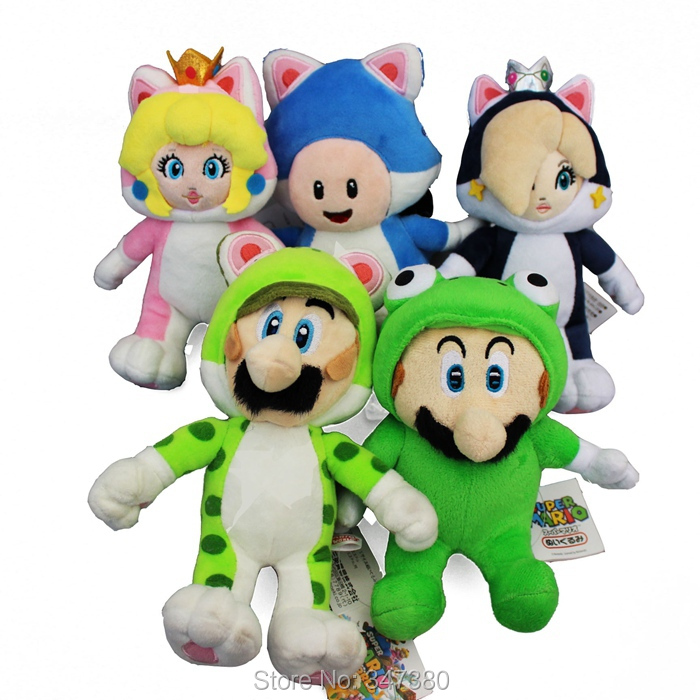 Set of 5 Super Mario 3D World Plush Doll 10sets 18-24cm Cat Mario,Cat Luigi,Cat Princess Peach and Cat Toad For Kids Baby Gift<br><br>Aliexpress