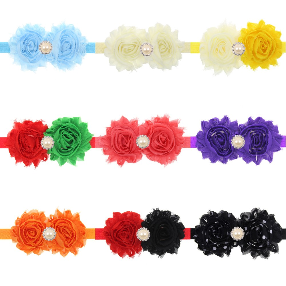 Newborn rhinestone chiffon Flower Hair band Cute baby sunflower headdress hair Accessories Christmas gift